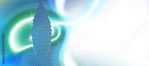 Fotografiet Light blue, white abstract backdrop textured by hexagons, unearthly technologies, circle blurred interface with hexs