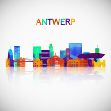 Antwerp Skyline Silhouette In Colorful Geometric Style. Symbol For Your Design. Vector Illustration.