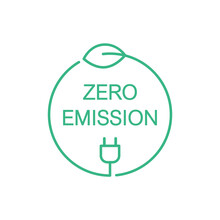 Zero Emission Sign, Icon, Symbol Or Logo. Green Leaf And A Electric Plug In A Circle. Clean Energy Concept. CO2 Neutral Power. Renewable Eco Energy Sources. Vector Illustration, Thin Line, Clip Art.