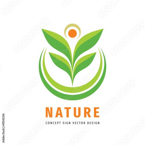 Nature leaves concept logo design Fototapeta