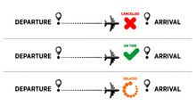 Information About The Status Of The Flight At The Airport. The Plane From The Point Of Departure Arrives On Time, Is Delayed, Canceled. Vector On Transparent Background