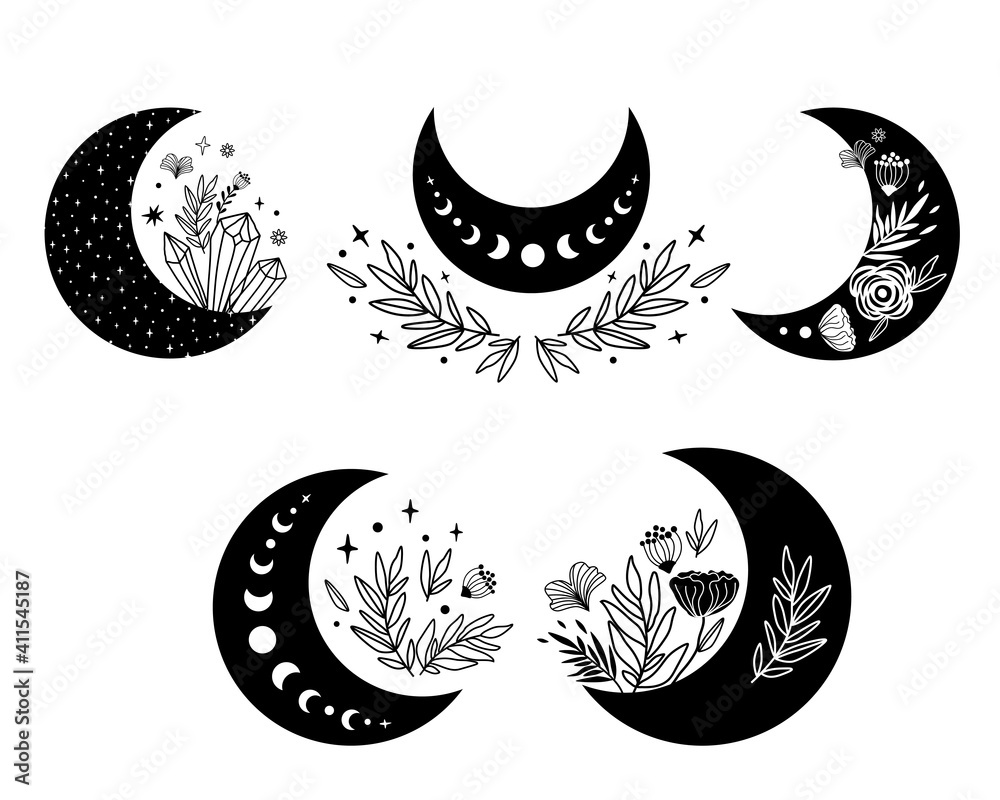 Fototapeta Floral moon clipart. Moon phase flowers set. Black moon elements. Celestial crescent isolated logo. Hand drawing