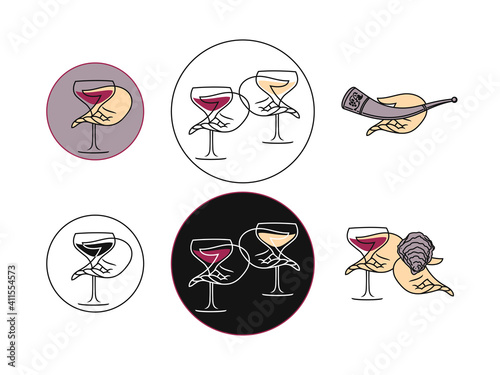 Wine concept collection for a logo on a white background #411554573