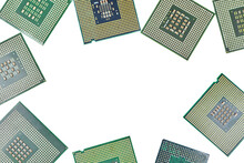 Bunch Of CPU, Central Processor Units, Isolated Background