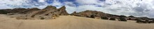 Panoramic View Of Vasquez Rocks Against Cloudy Sky