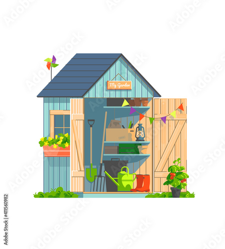 Garden shed with household tools isolated on white background Fototapeta