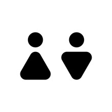 Man And Woman Abstract Icon. Male And Female Sign For Restroom. Girl And Boy WC Bathroom Pictogram. Vector Toilet Symbol