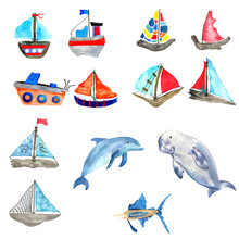 Watercolor Set Of  Sea Animals And Colorful Sailboats On White Background