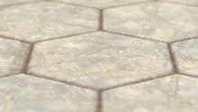 Rough Marble Hexagon Tile Close-Up (Realistic 3D Illustration)
