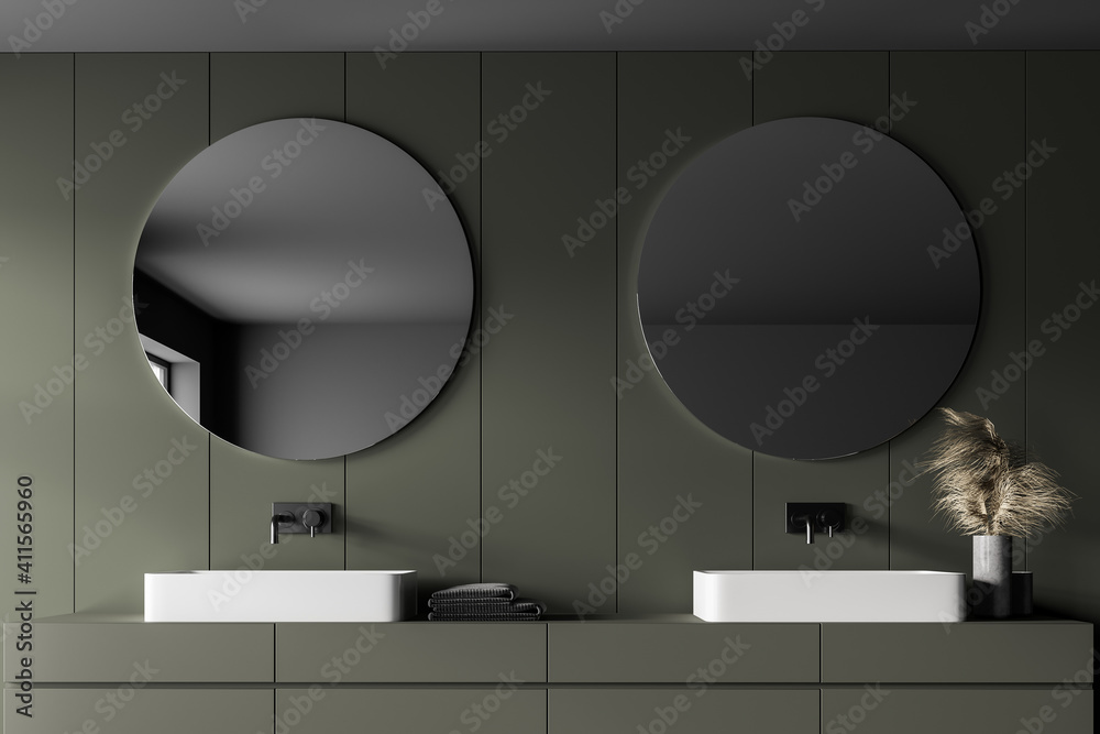 Fototapeta Grey and green bathroom with two sinks and mirrors - obraz na płótnie