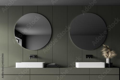 Fototapeta Grey and green bathroom with two sinks and mirrors obraz na płótnie