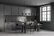 Dark Grey Kitchen Set With Eating Table And Chairs On Marble Floor