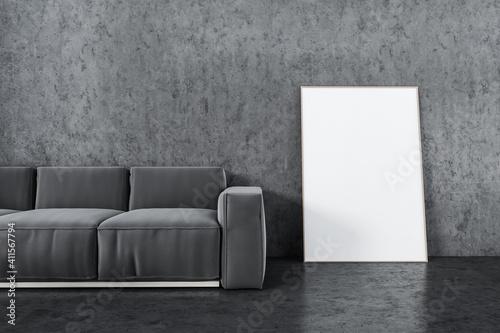 Fototapeta Mockup frame near grey sofa in living room with marble floor obraz
