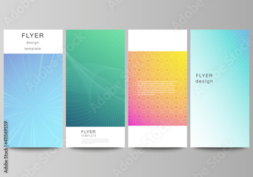 Obraz The minimalistic vector illustration of the editable layout of flyer, banner design templates. Abstract geometric pattern with colorful gradient business background. - fototapety do salonu