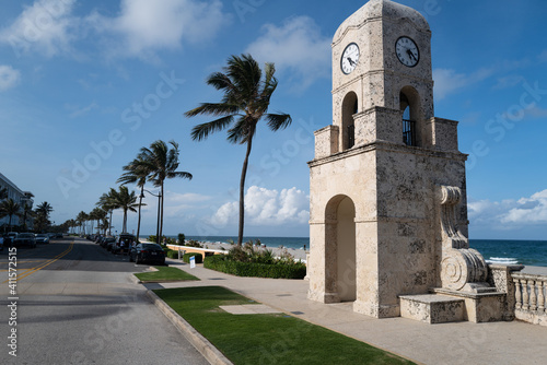 Canvas Palm Beach, FL, USA - MAY, 2020: Clock tower on Worth Ave