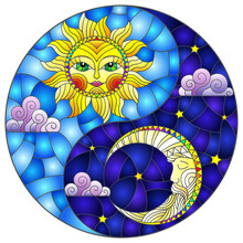 Stained Glass Illustration With The Sun And Moon In The Shape Of The Yin Yang Sign, Round Image
