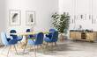 Interior design of modern dining room, wooden table and blue chairs 3d rendering