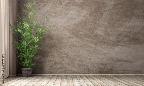 Fototapeta Interior background of room with stucco wall and pot with plant 3d rendering obraz