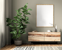 Interior With Wooden Sideboard And Poster 3d Rendering