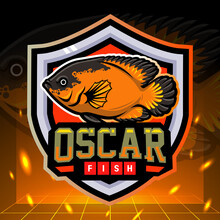 Cichlids Oscar Fish Mascot. Esport Logo Design