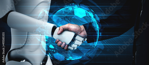 3D rendering humanoid robot handshake to collaborate future technology development by AI thinking brain, artificial intelligence and machine learning process for 4th industrial revolution.