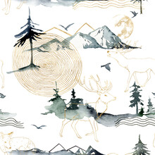 Watercolor Seamless Pattern Of Forest, Mountains, Deers And Birds. Hand Painted Abstract And Gold Linear Illustrations Isolated On White Background. For Design, Print, Fabric Or Background.