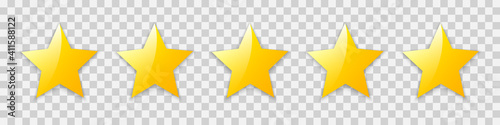 Obraz na plátně Five golden stars isolated, rating product review signs, customer reviews, quality shape