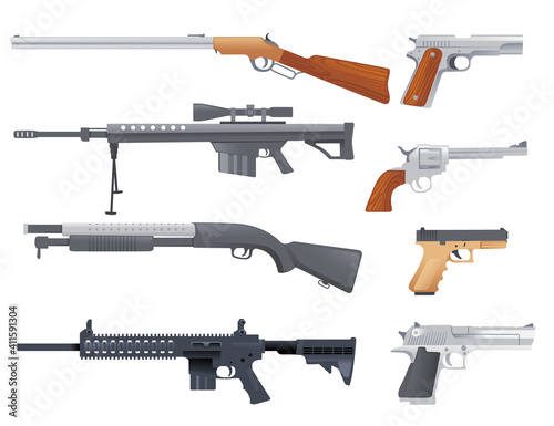 Fotografering Set of military or police firearm weapon handgun carbine sniper rifle and shotgu