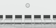 Empty Waiting Room With Black Chairs And Ticking Clock 3d Render Illustration