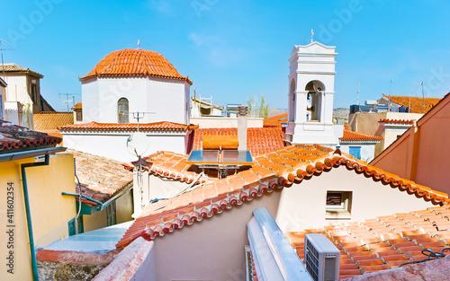 Slika na platnu The dome and belfry of Agios Spyridon Church, Nafplio, Greece