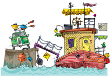 Cute Boat House With Furniture On Top And On The Deck. Cartoon. Caricature.Handmade Sketch.