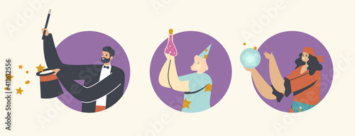 Illusionist Perform Trick with Top Hat and Wand, Fortune Teller with Crystal Glo Fototapet
