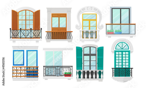 Cuadros en Lienzo Set Balconies with Windows with Wooden Shutters and Metal Forged or Marble Balusters