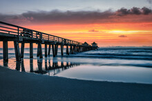 Sunset Panorama On The Pier,  Florida, Naples Pier, Travel Concept.