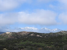 Scenic View Of The Snow-covered San Bernardino Mountains In Southern California.