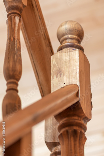 Fotomural Balusters on a wooden staircase, close-up, shallow depth of field