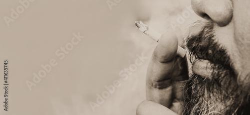 Canvastavla Cropped Man Smoking Cigarette