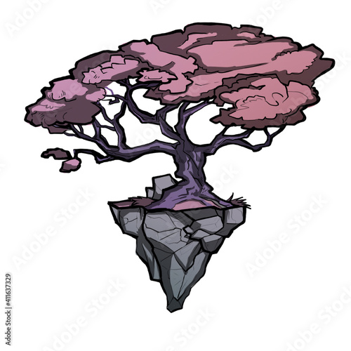 Canvas drawing of a tree on a stone, sharp