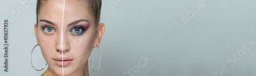 Fotografie, Obraz close-up portrait of a young beautiful girl