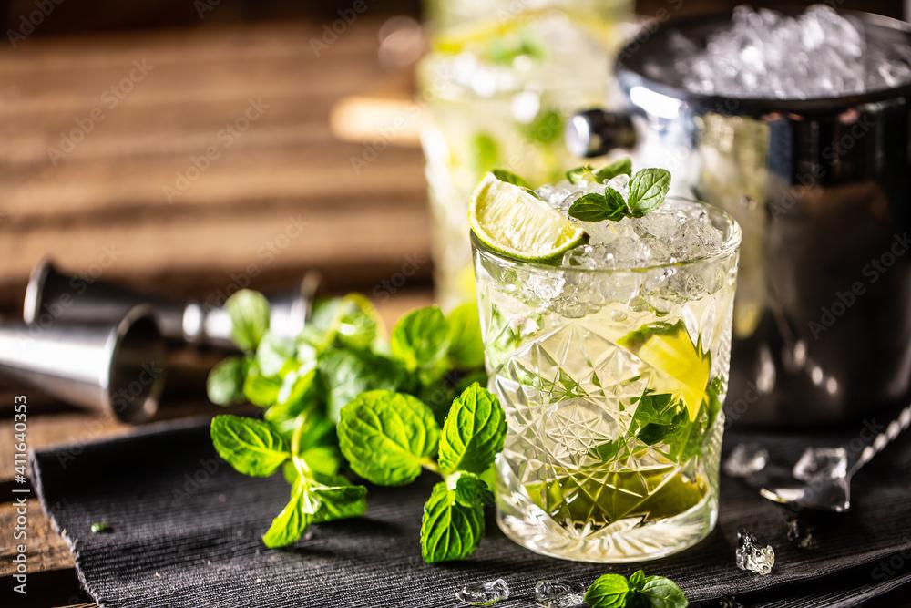 Fototapeta Mojito or virgin mojito long rum drink with fresh mint, lime juice, cane sugar and soda