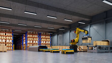 Factory Automation With AGV And Robotic Arm In Transportation To Increase Transport More With Safety.