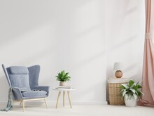 Scandinavian Style Living Room With Armchair On Empty White Wall Background.