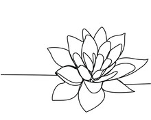 Continuous Line Drawing Of  Lotus. The Concept Of Beauty And Nature, Love. Ecology Of Aquatic Plants. Water Lily Flower Hand Drawn Design One Outline Sketch. Vector Illustration.