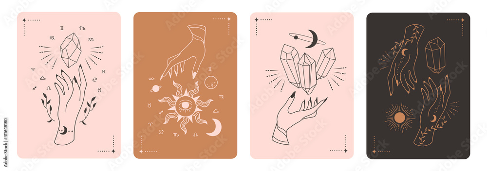 Set of mystical tarot cards. Elements of esoteric, occult, alchemical and witch symbols. Zodiac signs. Cards with esoteric symbols. Silhouette of hands,  stars, moon and crystals. Vector illustration - obrazy, fototapety, plakaty