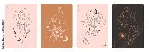 Fototapeta Set of mystical tarot cards. Elements of esoteric, occult, alchemical and witch symbols. Zodiac signs. Cards with esoteric symbols. Silhouette of hands,  stars, moon and crystals. Vector illustration obraz