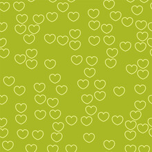 Endless Seamless Pattern Of Hearts Of Different Colors. Light Vector Hearts On Green. Wallpaper For Wrapping Paper. Background For Valentine's Day