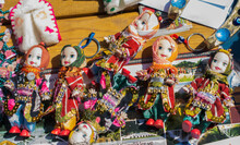 Variety Of Traditional Rag Dolls Were Dressed Up In  Ethnic Clothes
