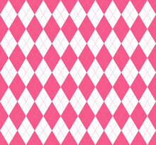Valentines Day Argyle Plaid. Scottish Pattern In Pink And White Rhombuses. Scottish Cage. Traditional Scottish Background Of Diamonds. Seamless Fabric Texture. Vector Illustration