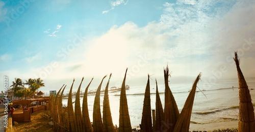 Papel de parede Built Structure At Beach Against Sky