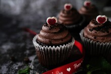 Valentines Day Chocolate Cupcakes On Dark Moody Setting, Selective Focus